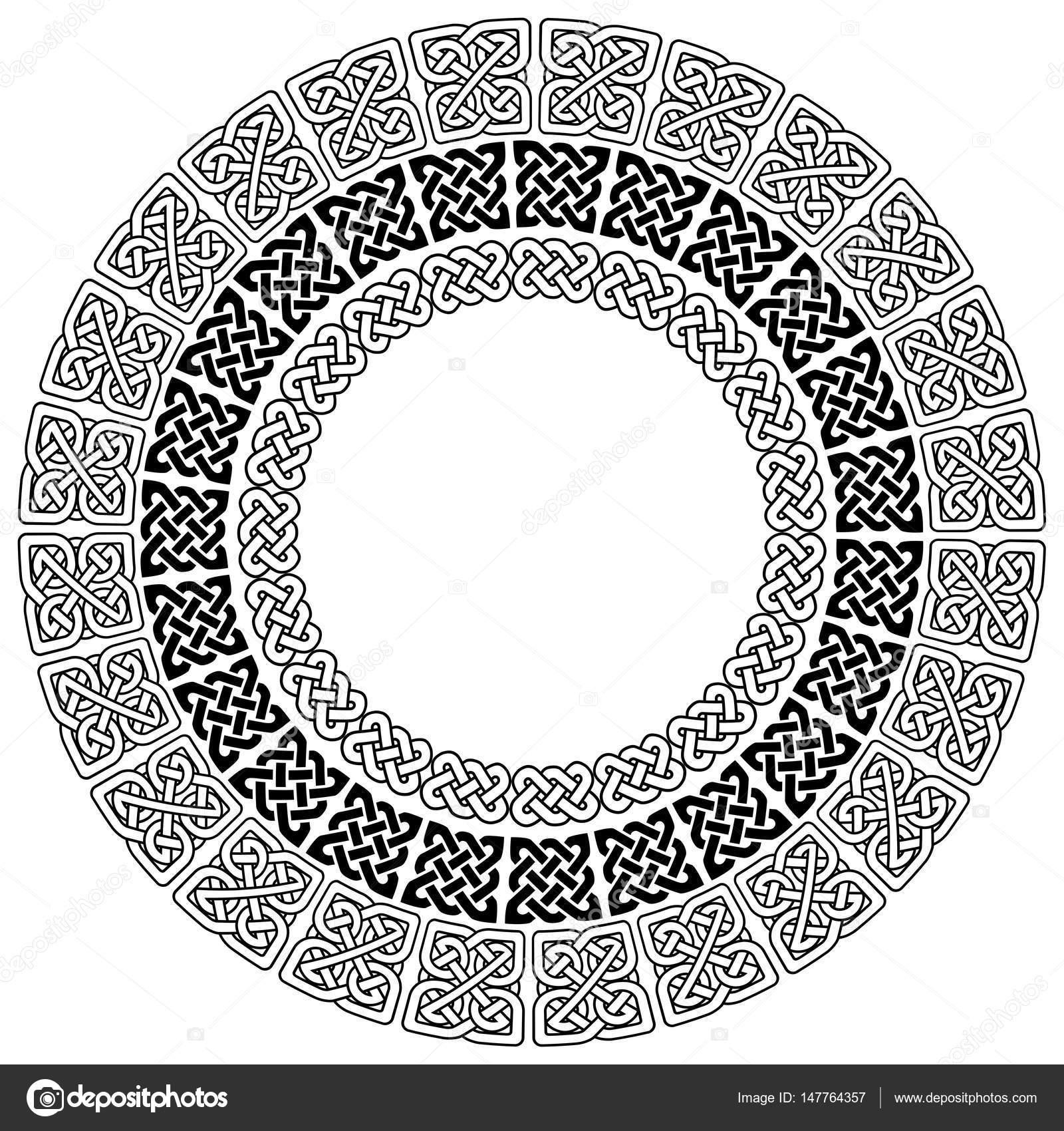 Mandala Style Celtic Style Endless Knot Symbols In White On Black