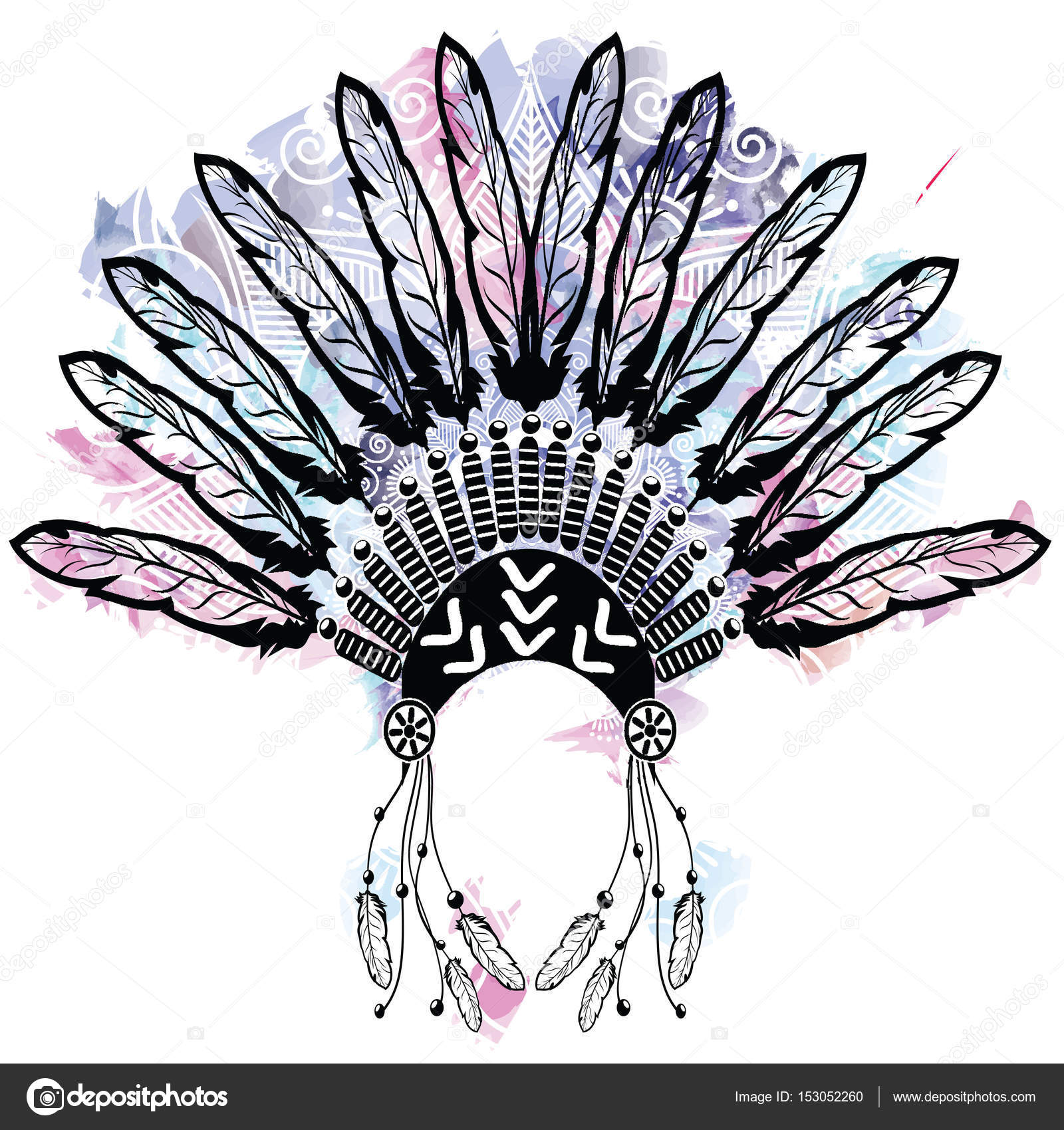 59cc45fa4f748 Aztec style headdress made out of feathers symbolizing native American  culture on colorful watercolors background with mandala lace tattoo style  decorated ...