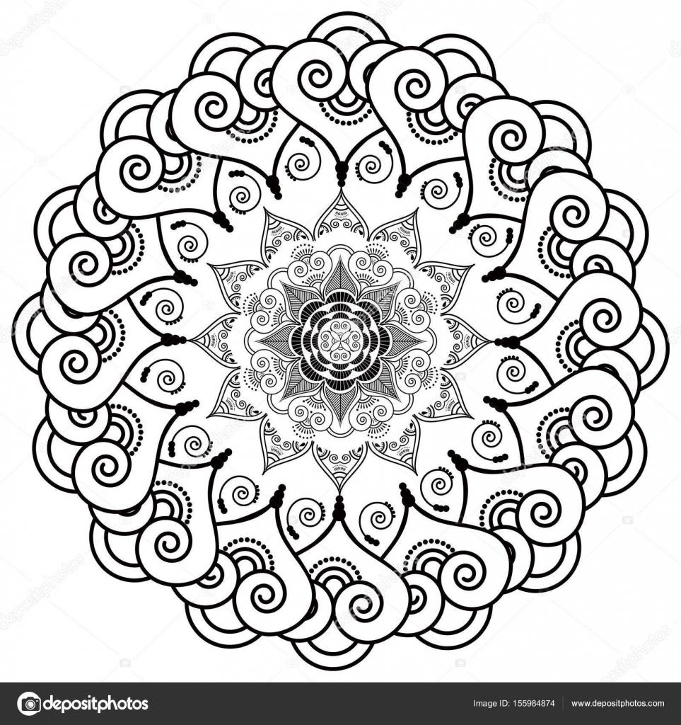 Rosetón estilo mandala de la flor inspirada en la cultura asiática y ...