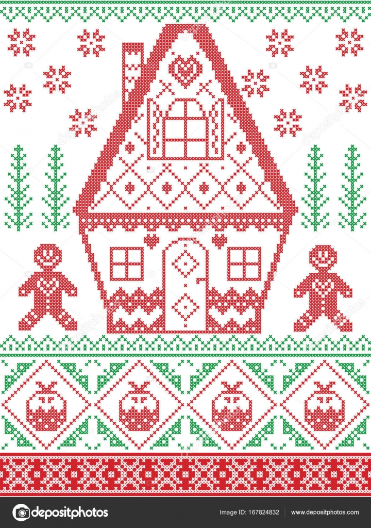 Nórdico estilo e inspirada por el arte escandinavo de punto de cruz ...