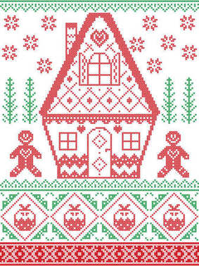 Nordic style and inspired by Scandinavian cross stitch craft Christmas pattern in red , green including heart, gingerbread house, gingerbread man, Christmas pudding, snowflakes, snow, Christmas tree