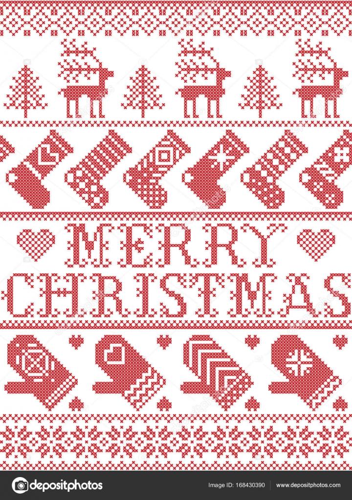 Frohe Weihnachten skandinavischen Muster im nordischen Winter und ...