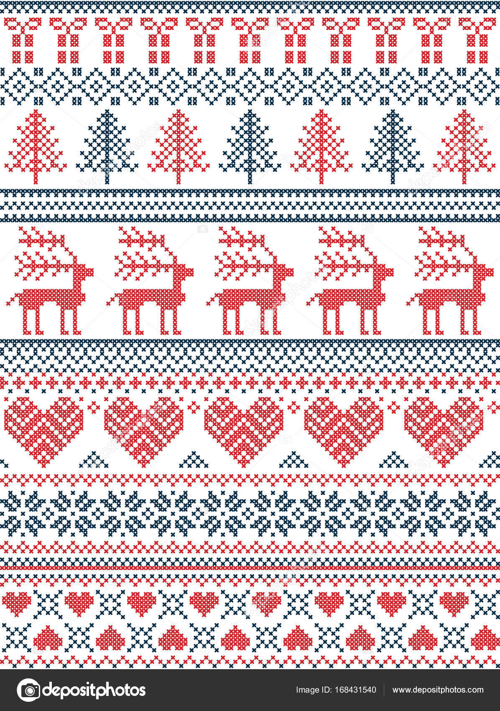 Skandinavisch, nordischen Stil Winter Naht Weihnachten Muster ...