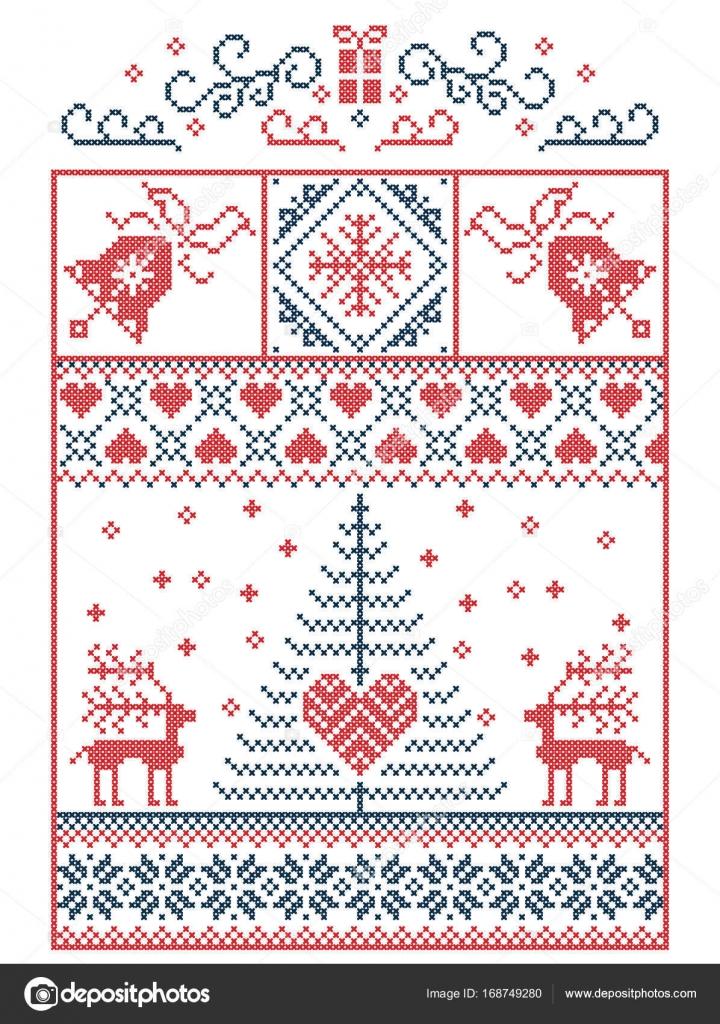Escandinavos, nórdicos estilo invierno costura Navidad patrón ...