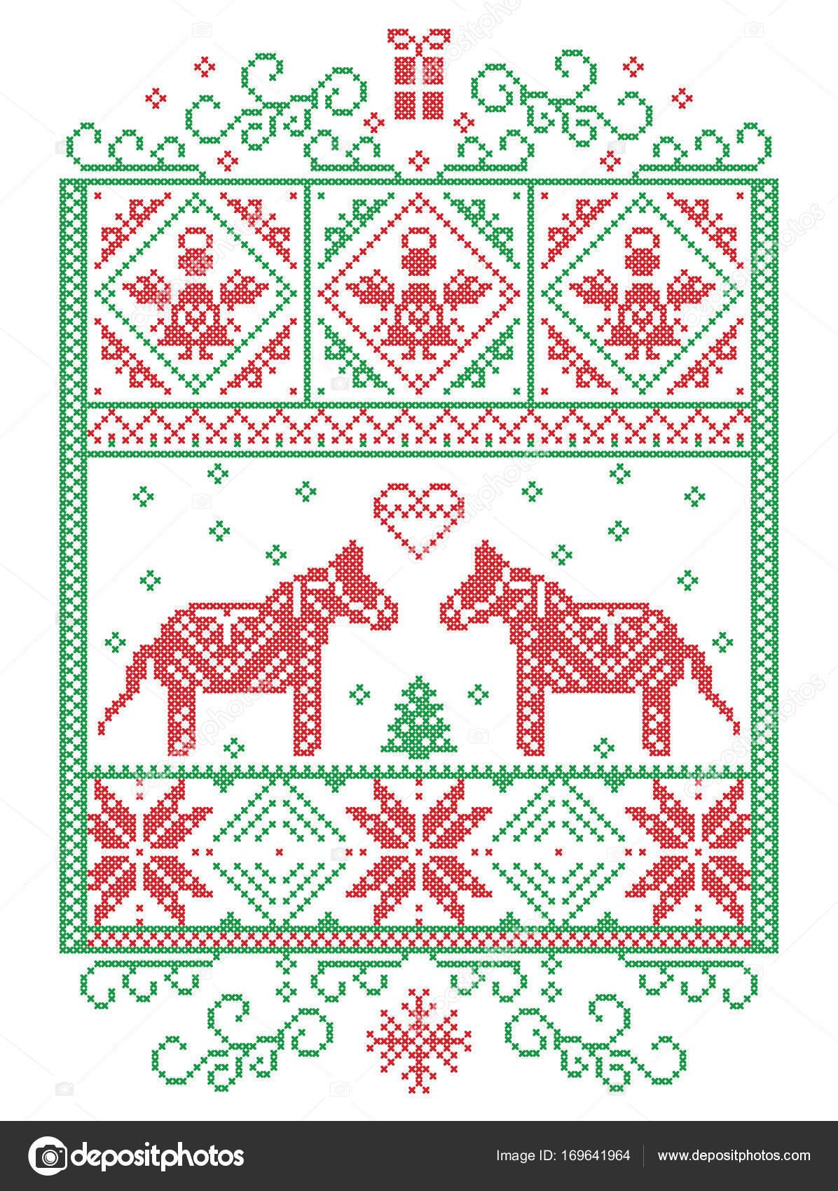 Elegante Navidad escandinavo, estilo nórdico invierno punto de cruz ...