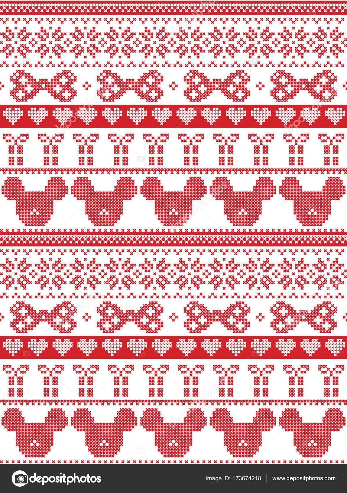 Seamless Merry Christmas Scandinavian fabric style, inspired by ...