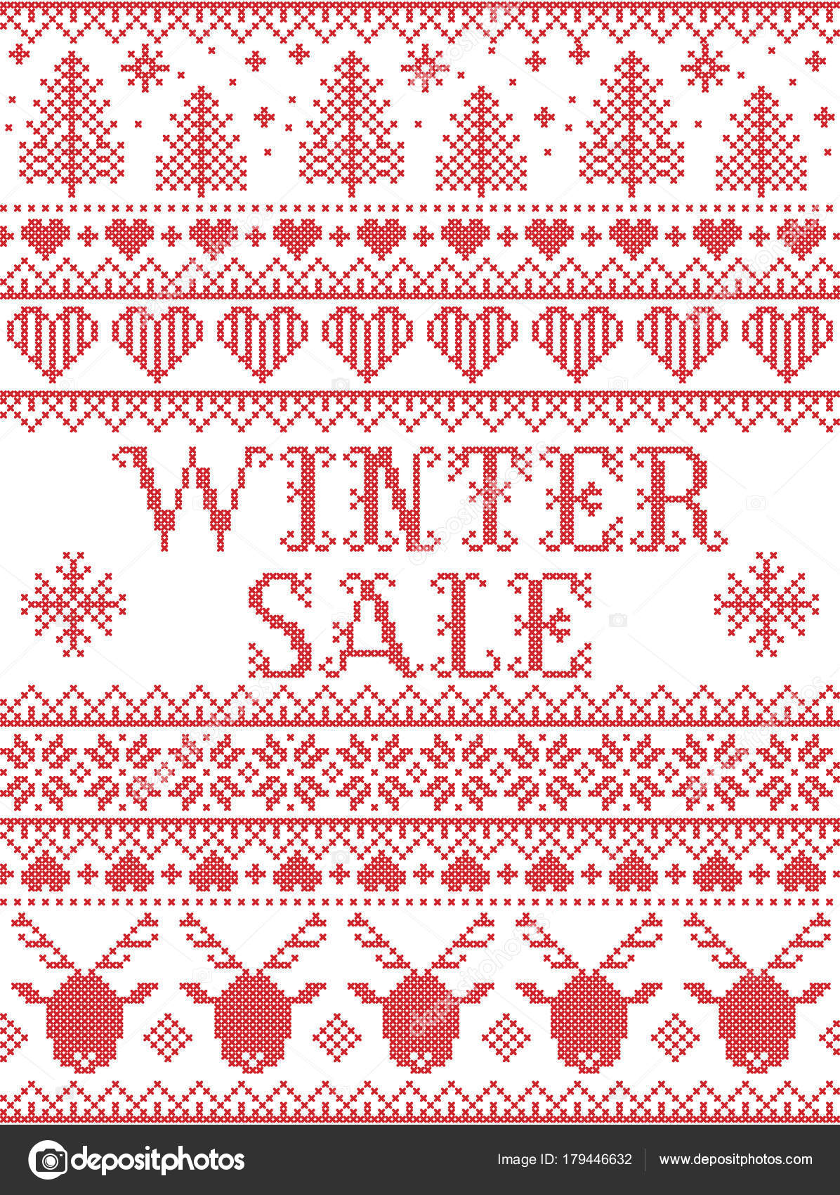 Seamless Winter Sale Scandinavian Style Inspired Norwegian Christmas ...