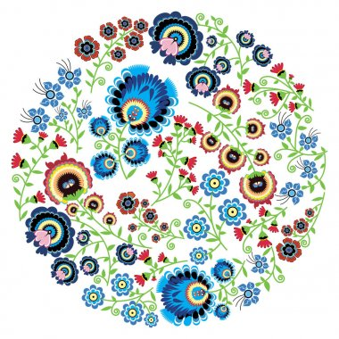 Colorful Polish folk inspired traditional floral pattern in the full moon shape