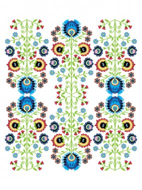 Colorful Polish folk inspired traditional floral pattern