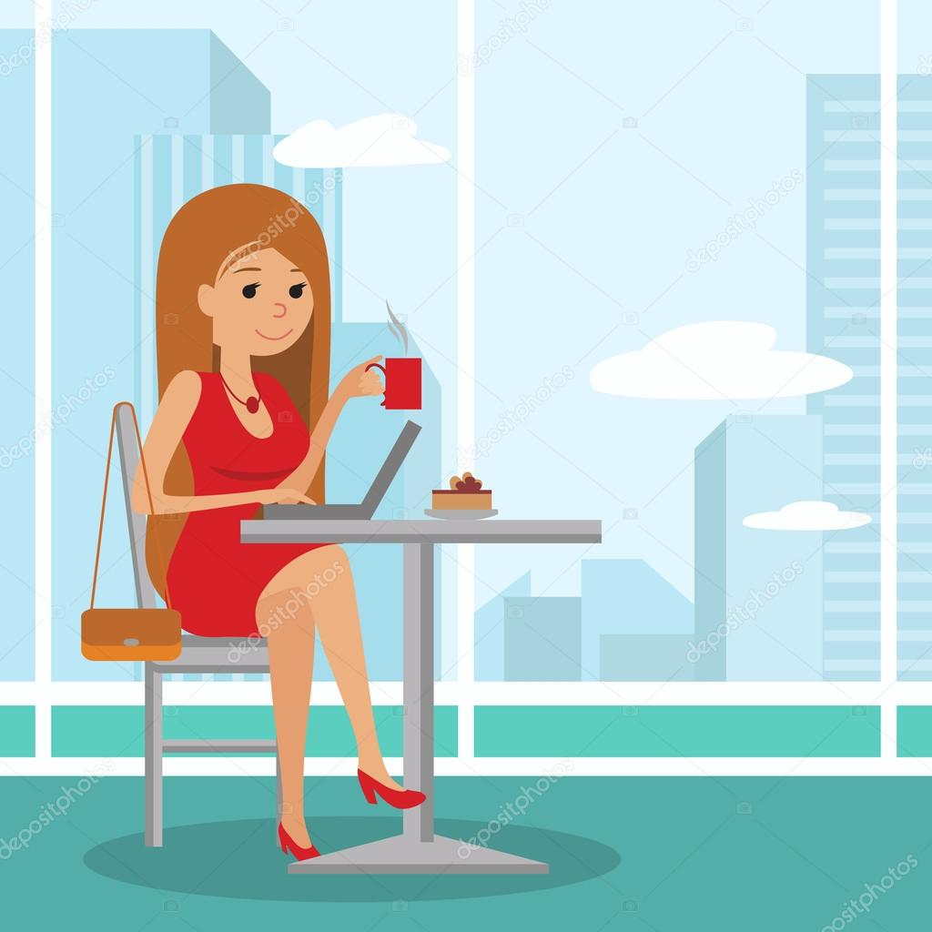 Image result for coffee and laptop girl illustration