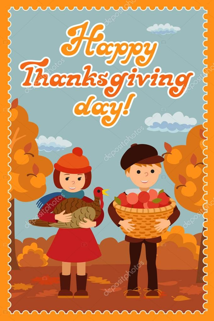 Happy thanksgiving day card with child leafs and congratulation ...