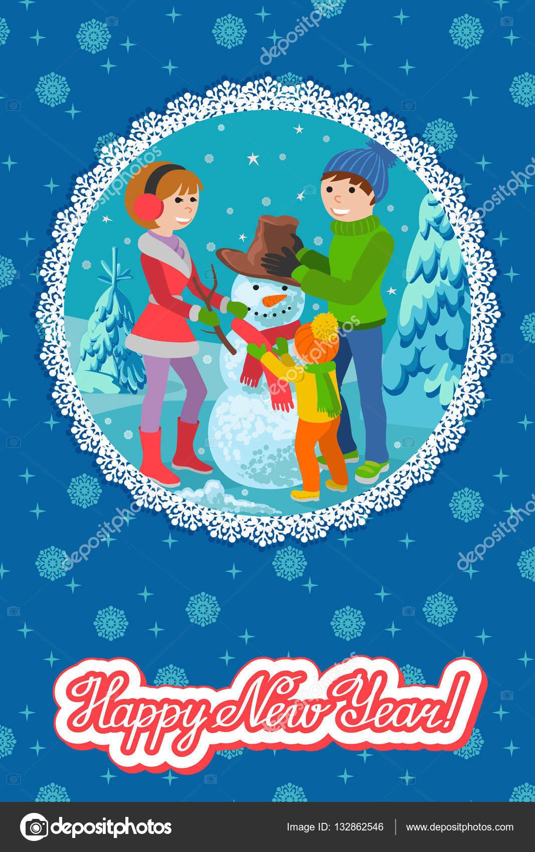 Frohe Weihnachten Familie.Vector Illustration Winter Karte Glückwünsche Neues Jahr Glückliche