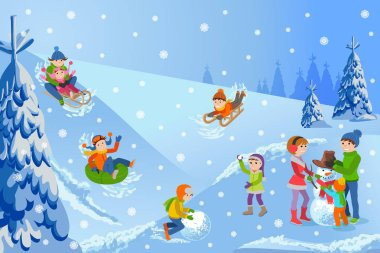 Vector illustration of winter landscape happy children playing with snowman, sledding, tubing, parents and kids. stock vector