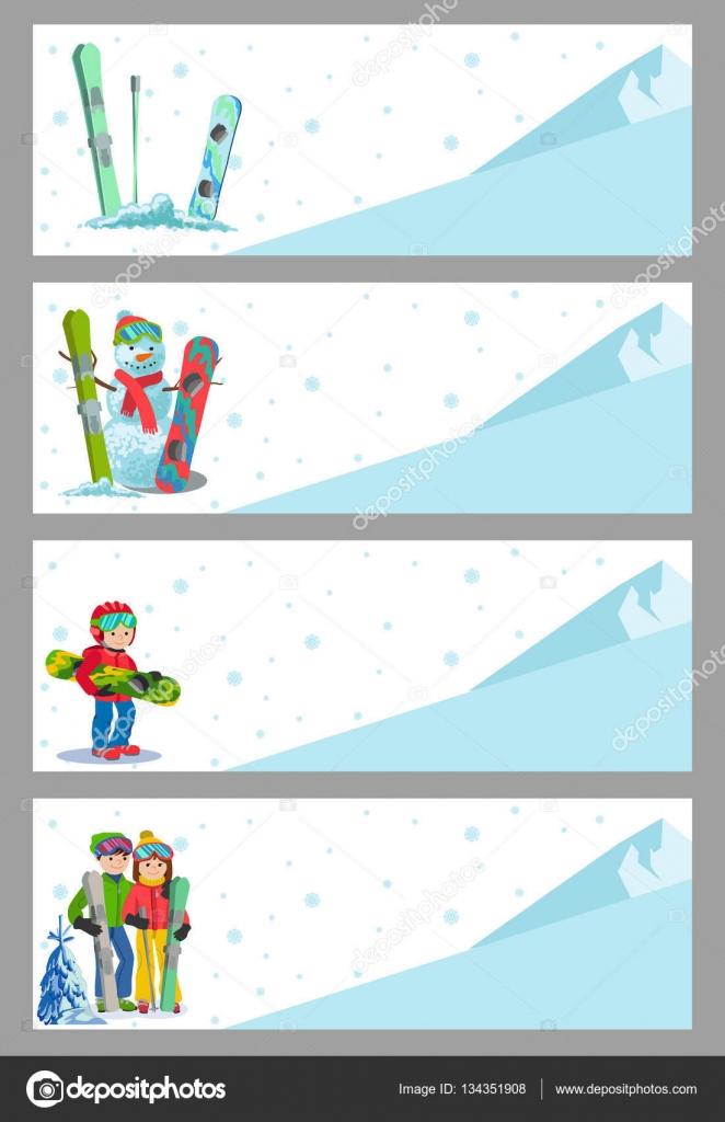 Berg Ski Winter Sport Flyer Design-Vorlage. Snowboarden und ...