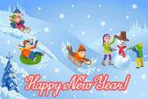 Vektor Illustration des neuen Jahres Glückwunschkarte mit Winterlandschaft glückliche Kinder spielen Schneemann Wandern im Freien.