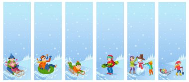Vector illustration of children playing in the street in winter. Kids sculpts snowman, riding the hills on sleds, tubing, .