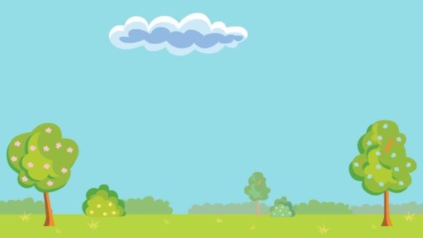 Landschaft mit Bäumen und blauem Himmel. Wolken im Cartoon-Stil Video.