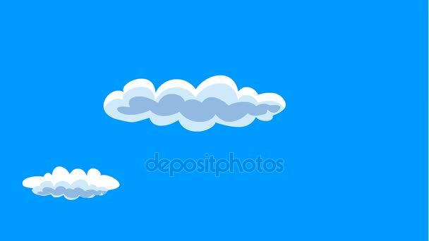 Blue sky with clouds in cartoon style motion video.