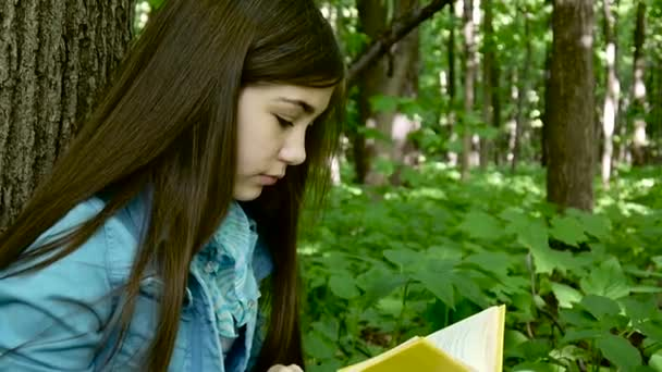 Portrait of serious teenage girl reading book and turning page leaning against tree trunk in forest in spring, studying outdoor.