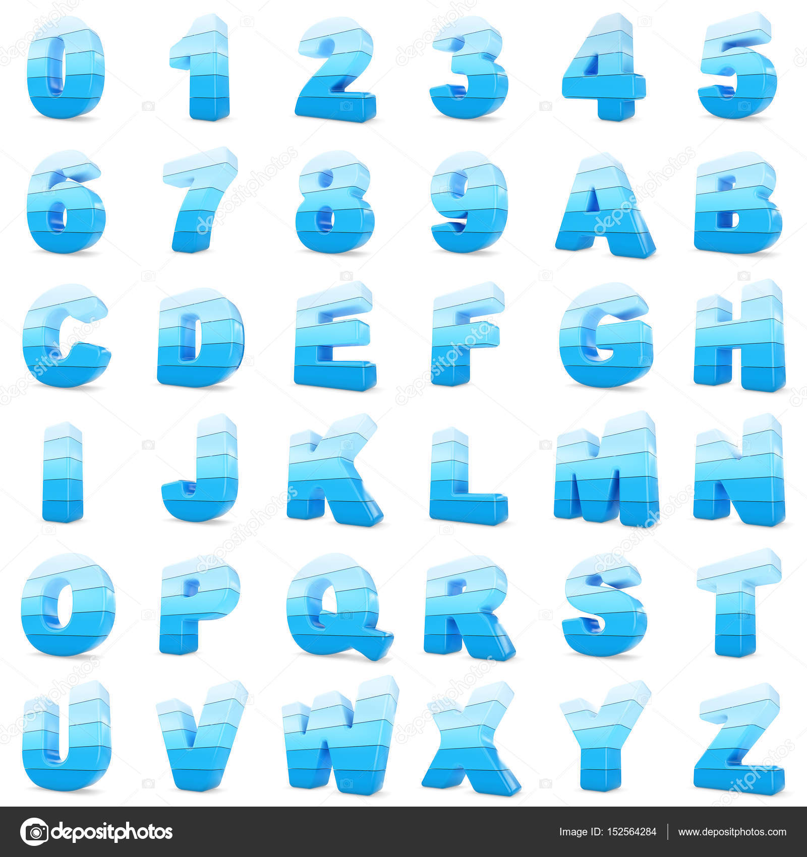 3d Blue color numbers and letters. — Stock Photo © santypan #152564284