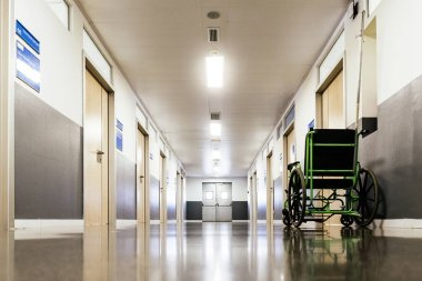 Corridor interior of hospital.