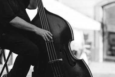 Musician playing double bass at the street.