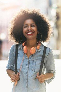 Portrait of beautiful afro american woman.