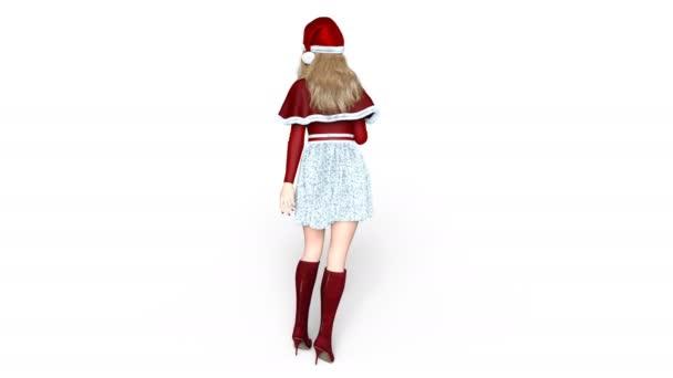fiatal nő, Santa Claus kalap