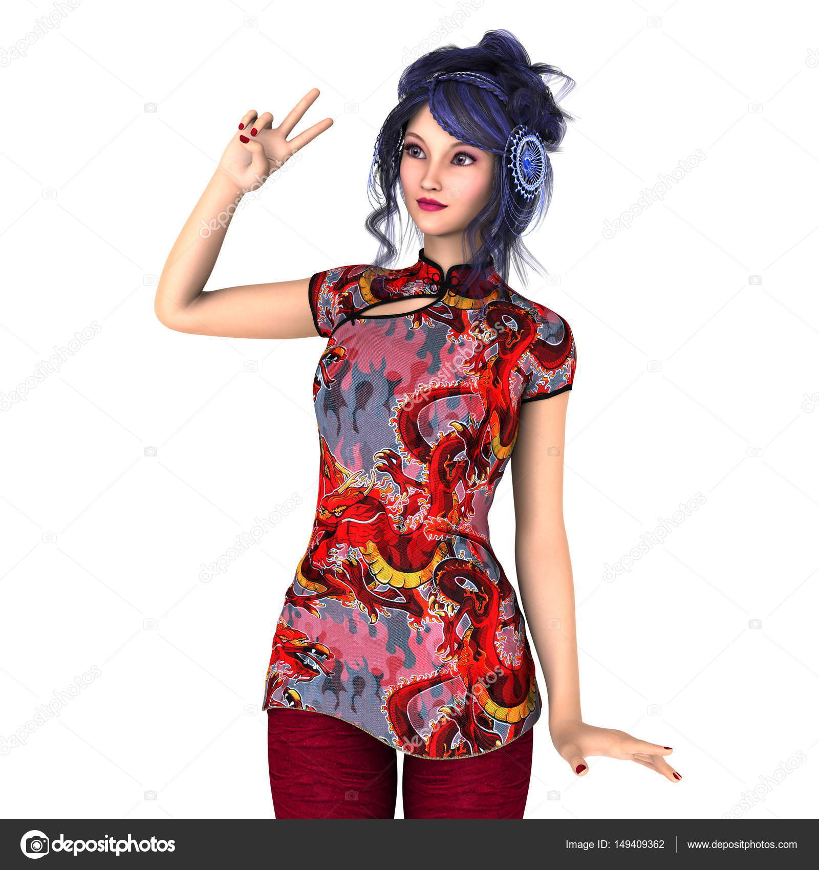 0b7225f49dc4 Giovane donna con il vestito cinese — Foto Stock © TsuneoMP  149409362