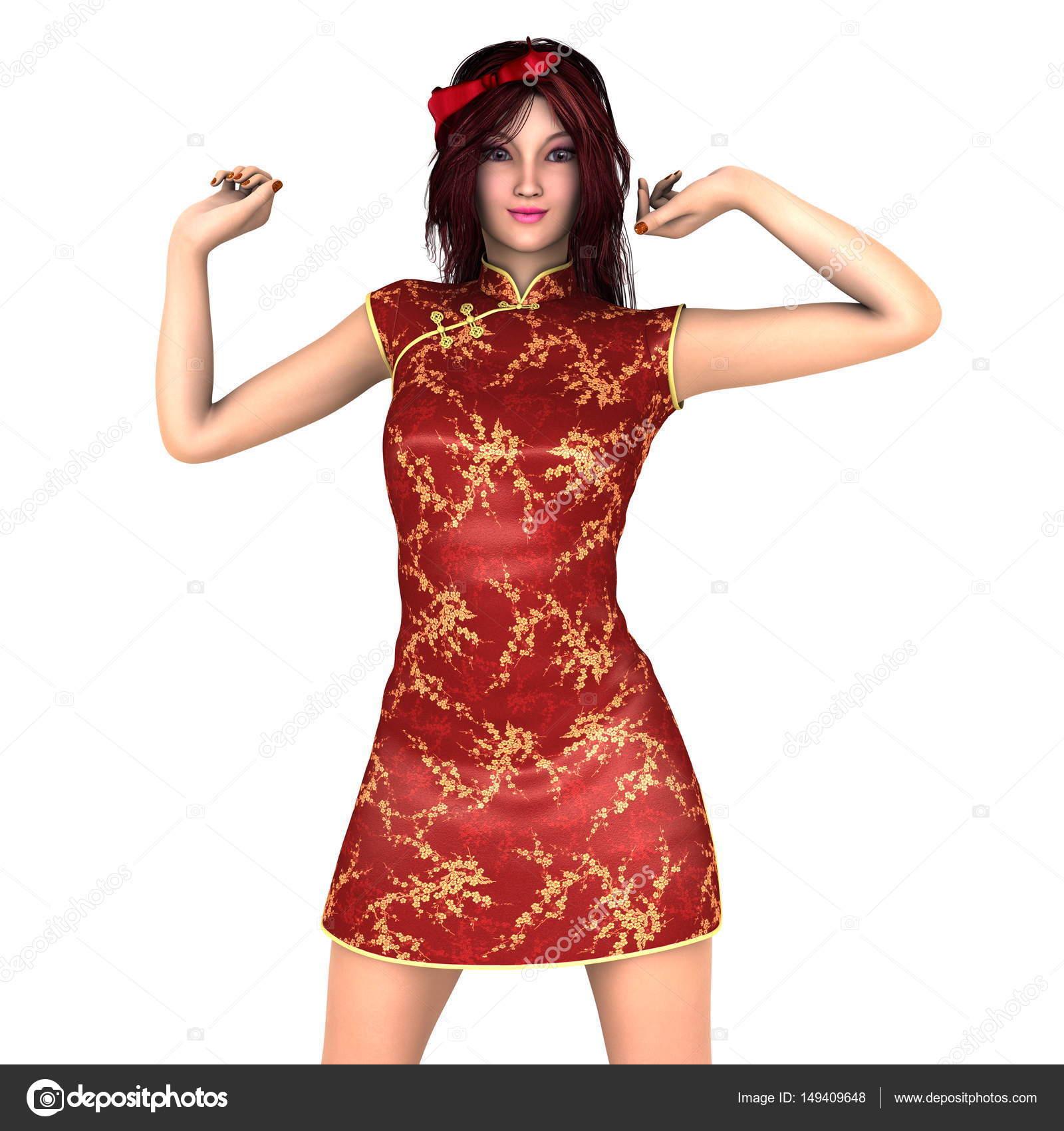 c119705c6101 Giovane donna con il vestito cinese — Foto Stock © TsuneoMP  149409648