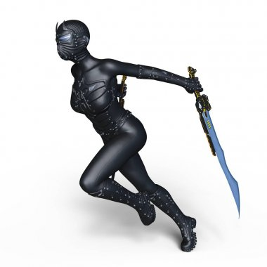 3D CG rendering of a female cyborg fencer