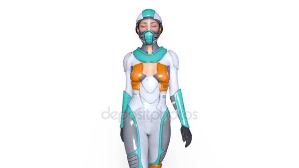 3D-cg-Darstellung einer wandelnden Superfrau