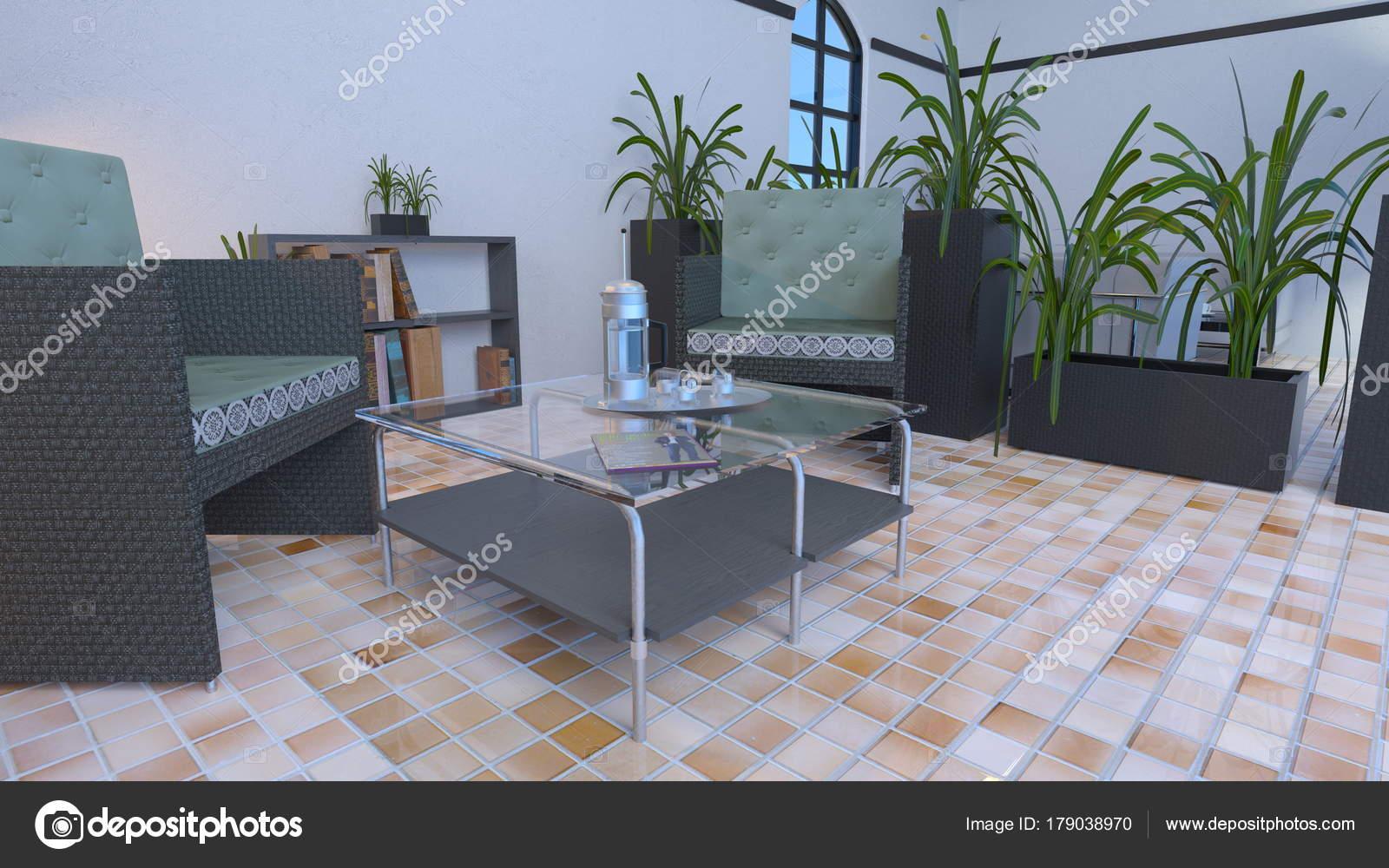Wohnzimmer Rendering Des Wohnzimmers — Stockfoto © TsuneoMP #179038970