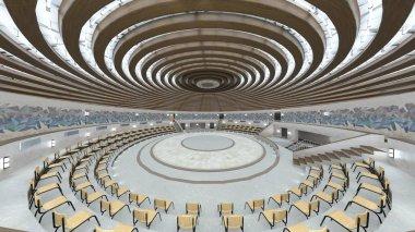 Circular hall/3D CG rendering of the circular hall.