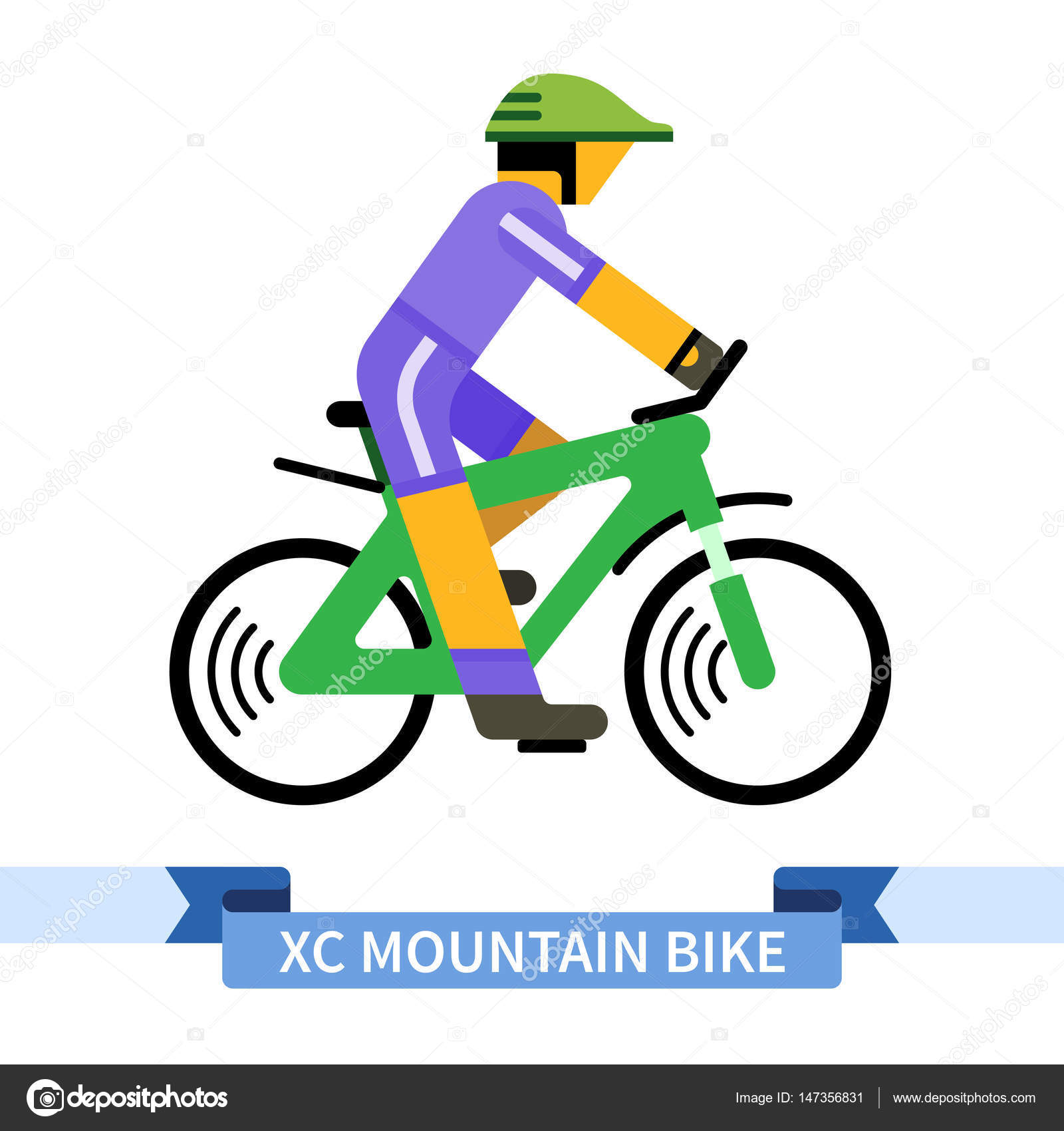 Bicyclist On Cross Country Mountain Bike Simple Side View Clipart Drawing In Flat Color