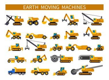 Earthmoving machines icons set