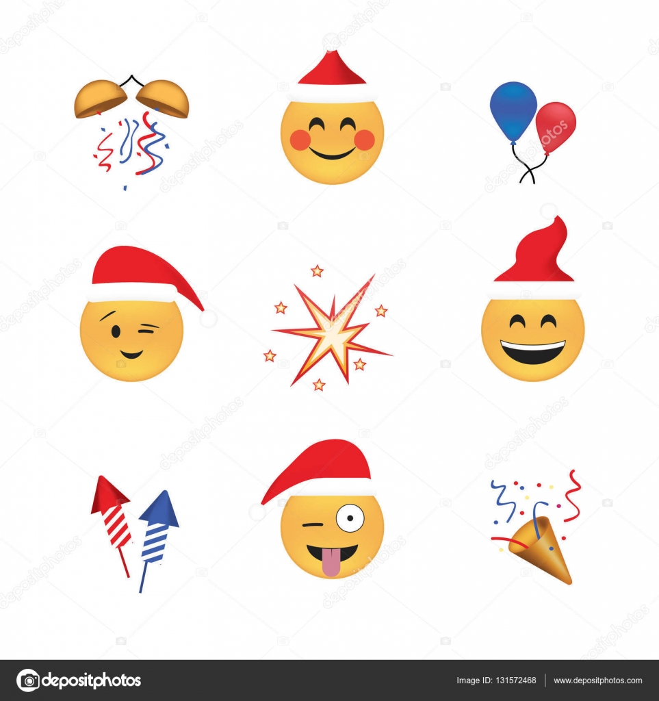 Set of funny emoticon vector isolated on white background. New Year ...