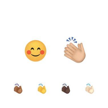 Set of applause gesture emoticon