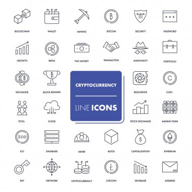 Line icons set. Cryptocurrency