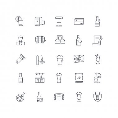 Line icons set. Pub pack. Vector illustration with beer and other alcohol and food element with english style.Web and Ui-UX Collection icon