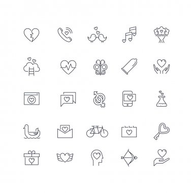 Line icons set. Love pack. Vector illustration for romantic, love works with heart symbols icon