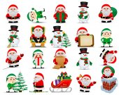 Merry christmas. Collection of vector Santa Clauses, elfs, snowmans. Set