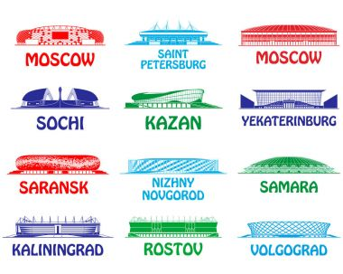 Football stadiums set. Russia 2018