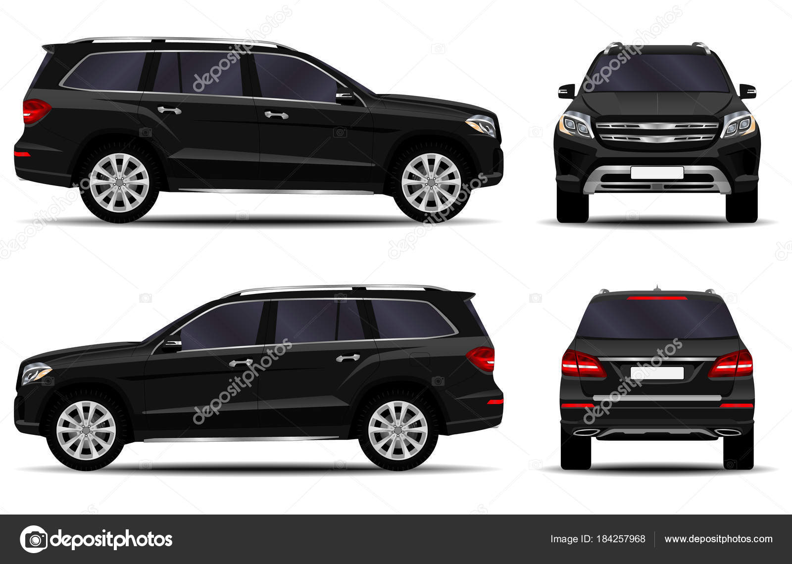 Realistic Suv Car Front View Side View Back View Stock Vector