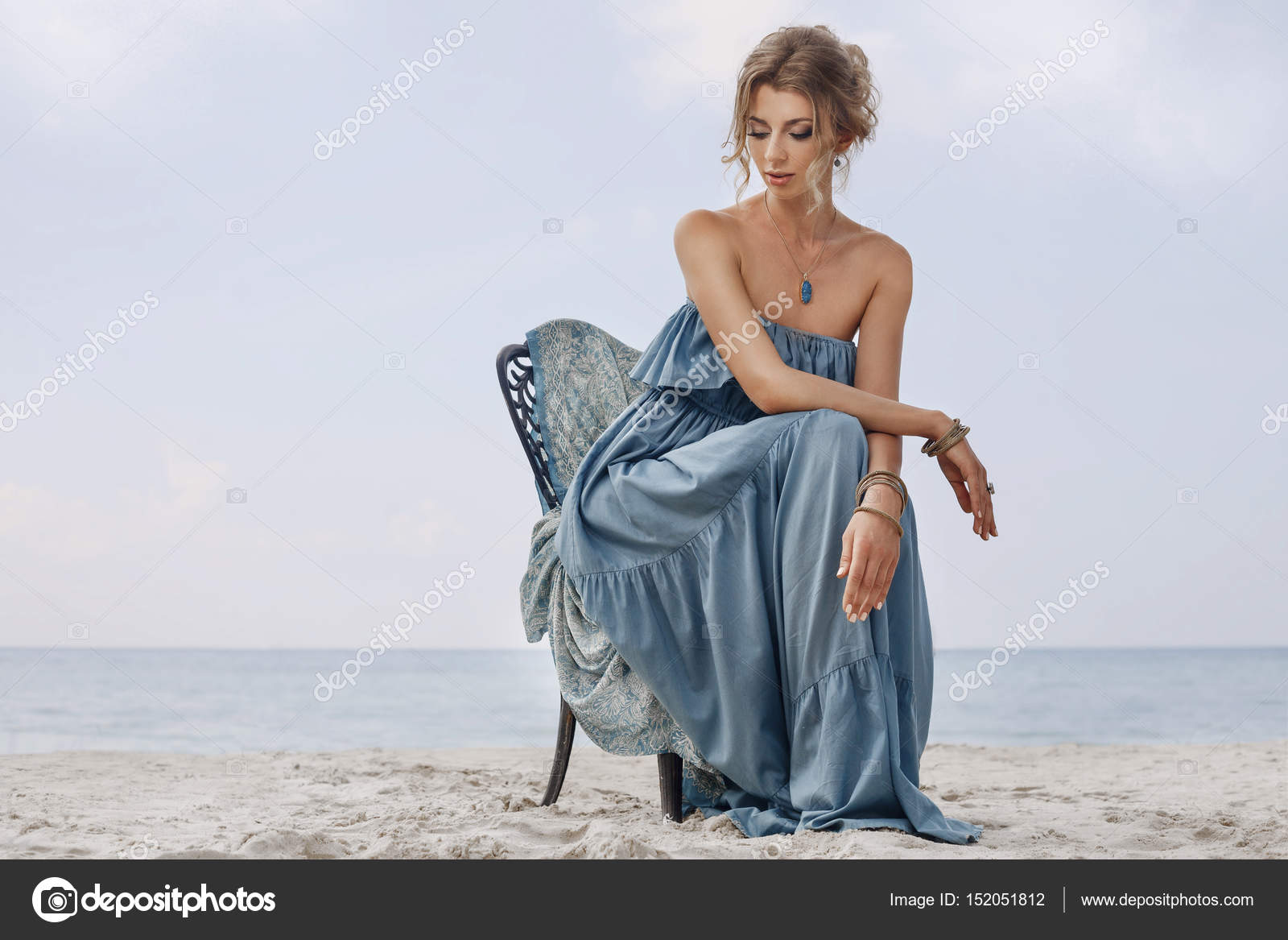 Beautiful Young Bride Sitting On Chair On The Beach Stock Photo Image By C Zolotareva123 152051812