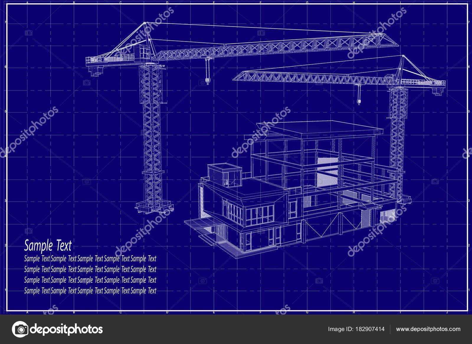 3d building on blueprint stock photo lookaod 182907414 3d building on blueprint stock photo malvernweather Choice Image