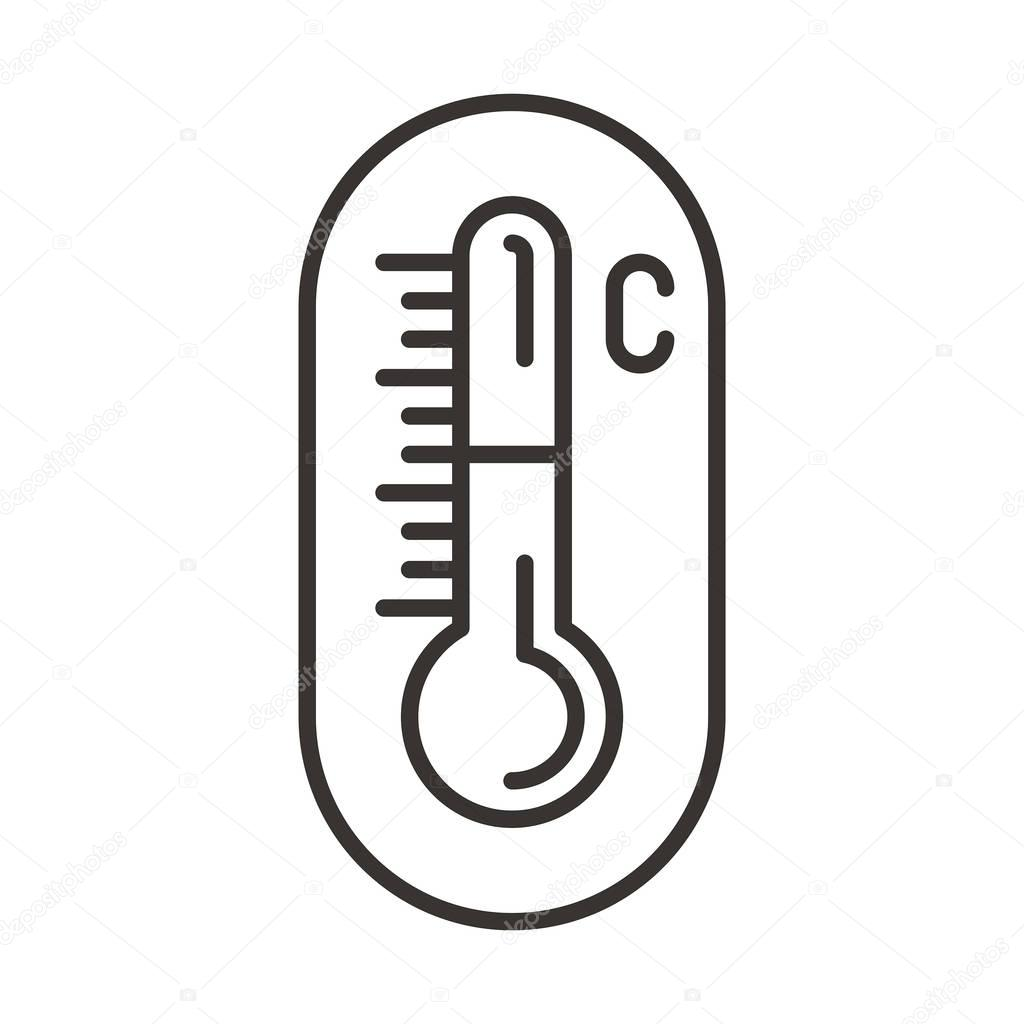 Thermometer icon on circle button