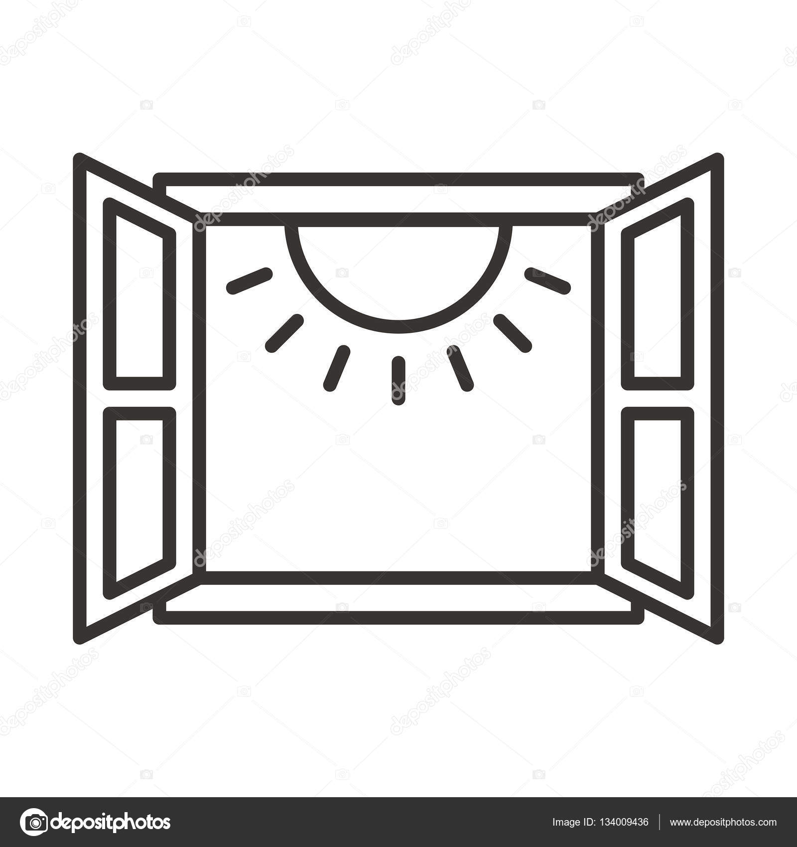 Open Window Clipart Clipart Suggest: Open Window With Sunshine Icon Illustration