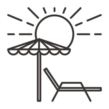 sunbed with umbrella simple icon