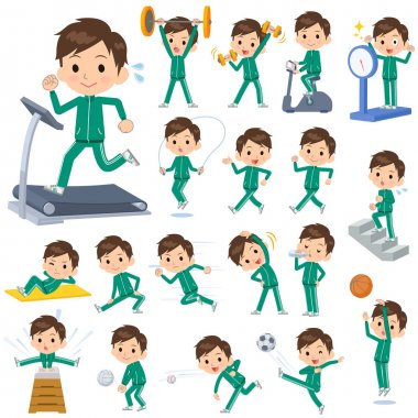 Set of various poses of school boy Green jersey Sports & exercise clip art vector